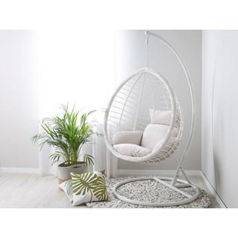 Fotel wiszący biały owalny rattan poduszki stalowy stelaż