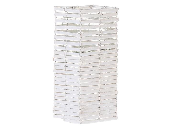 Zestaw 3 świeczników białe drewniane kwadratowe wysokie różne rozmiary boho design szklany pojemnik Drewno Szkło Żelazo Metal Kolor Biały