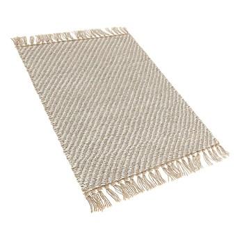 Dywan beżowy jutowy z bawełną 50 x 80 cm tkany ręcznie chodnik styl boho do przedpokoju sypialni