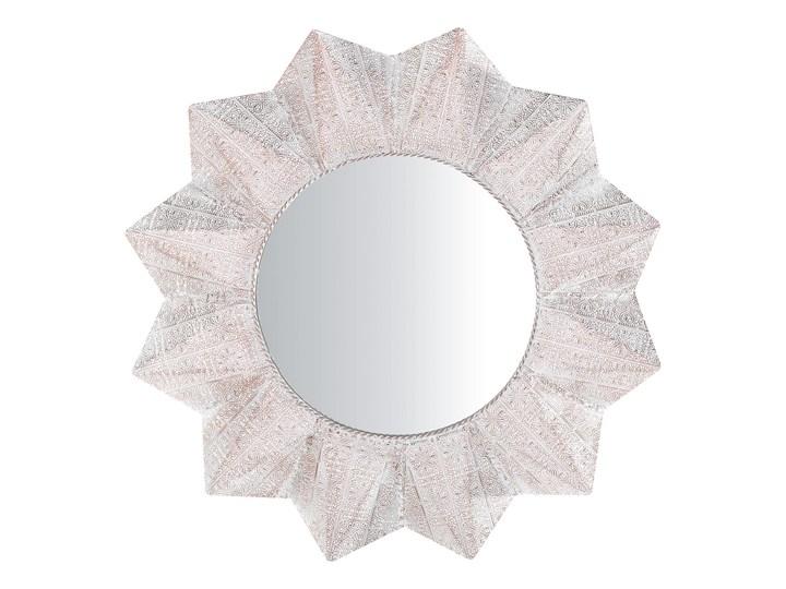 Lustro ścienne wiszące biało-miedziane 72 cm geometryczne słońce gwiazda Okrągłe Kolor Biały Lustro z ramą Styl Vintage