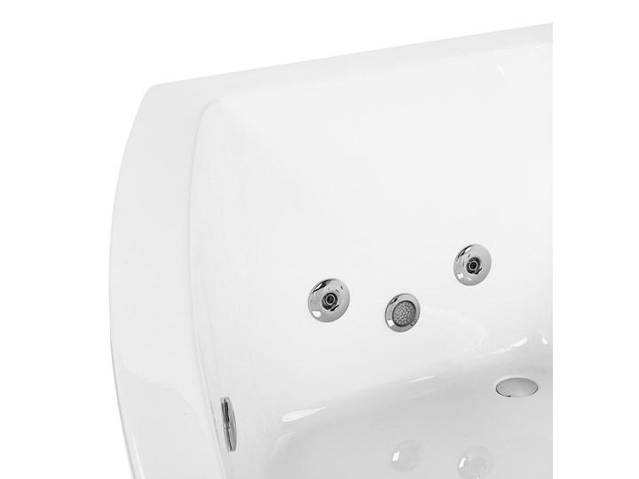 Wanna narożna biała akrylowa 182 x 121 cm lewostronna hydromasaż dysze wodne z zagłówkami Stal Kolor Biały Kategoria Wanny