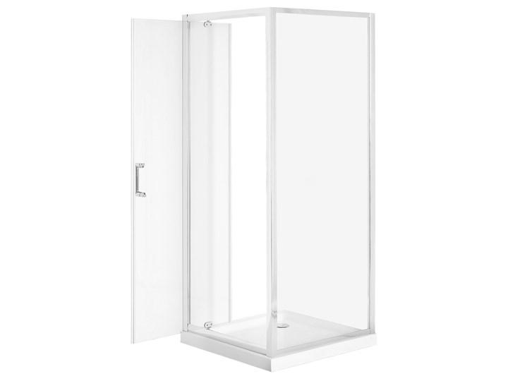 Kabina prysznicowa srebrna szkło hartowane aluminum pojedyncze drzwi 80 x 80 x 185 cm nowoczesny design Kwadratowa Kategoria Kabiny prysznicowe Kolor Przezroczysty