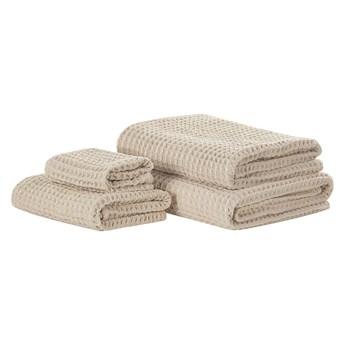 Komplet 4 ręczników beżowy bawełna low twist ręczniki dla gości do rąk kąpielowy i plażowy