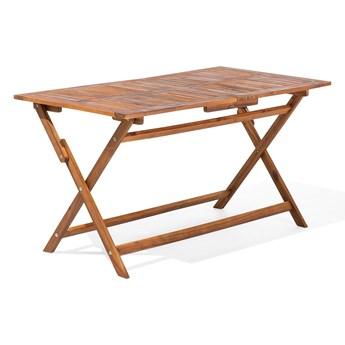 Stół ogrodowy jasne drewno 140 x 75 cm składany 6 osób rustykalny