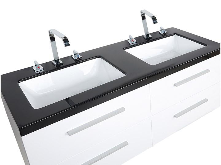 Zestaw mebli łazienkowych biały nowoczesna szafka wisząca z 2 umywalkami i lustrem Kategoria Zestawy mebli łazienkowych
