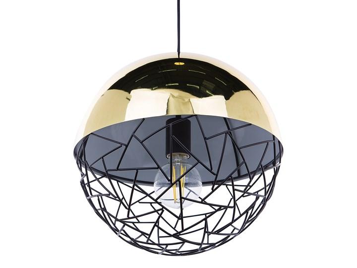 Lampa sufitowa złota metalowa 124 cm ażurowa czarna osłona wysoki połysk glamour Lampa druciana Kolor Złoty Lampa z kloszem Kategoria Lampy wiszące