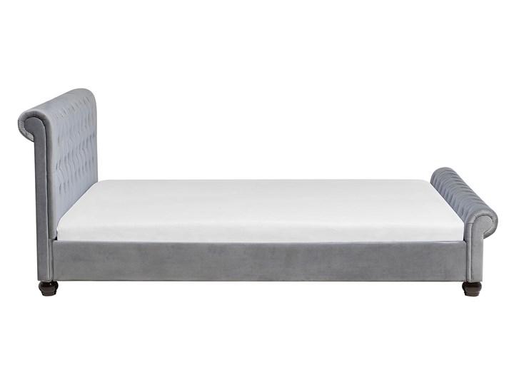 Łóżko ze stelażem szare welurowe 180 x 200 cm z zagłówkiem pikowane styl glamour Łóżko tapicerowane Kolor Szary Kategoria Łóżka do sypialni