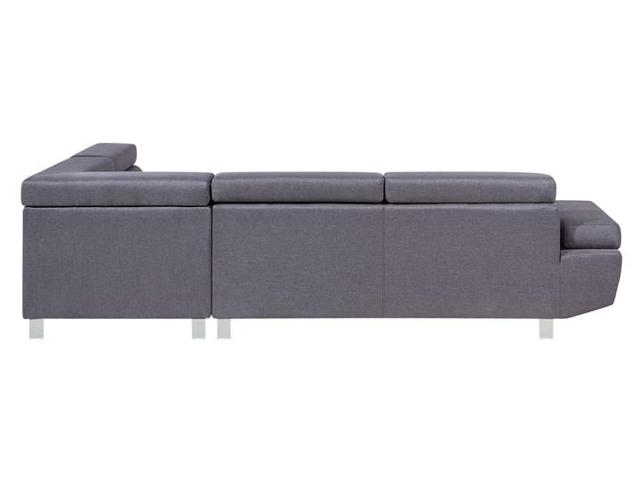 Narożnik lewostronny szary tapicerowany 5 osobowa sofa z regulowanymi zagłówkami W kształcie L Boki Z bokami