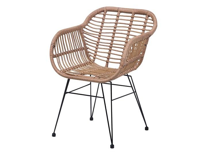 Zestaw balkonowy brązowy rattanowy 2 krzesła 1 stół ze szklanym blatem nowoczesny Technorattan Stal Stoły z krzesłami Kolor Czarny