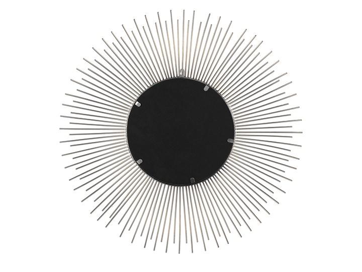 Lustro wiszące ścienne srebrne 80 cm okrągłe metalowe promienie słońca Lustro z ramą Pomieszczenie Sypialnia Styl Vintage