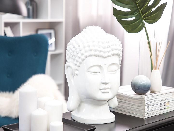 Figura dekoracyjna biała stojąca głowa Buddy 41 cm Tworzywo sztuczne Rośliny Ludzie Kolor Biały Kategoria Figury i rzeźby