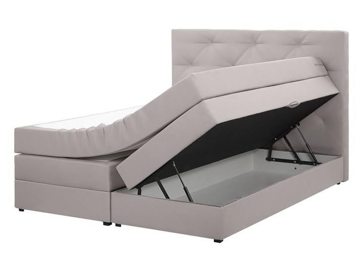 Łóżko kontynentalne jasnoszare tapicerowane z pojemnikami 160 x 200 cm boxspring wezgłowie materac sprężynowy topper Łóżko tapicerowane Kategoria Łóżka do sypialni