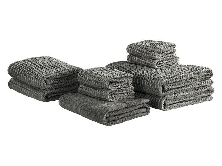 Komplet 9 ręczników szary bawełna low twist ręczniki dla gości do rąk kąpielowy i mata łazienkowa