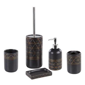 Zestaw akcesoriów łazienkowych czarny złoty ceramiczny art deco dozownik mydła szczotka do toalety
