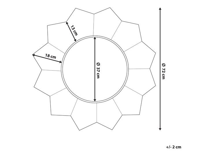 Lustro ścienne wiszące biało-miedziane 72 cm geometryczne słońce gwiazda Okrągłe Lustro z ramą Styl Vintage