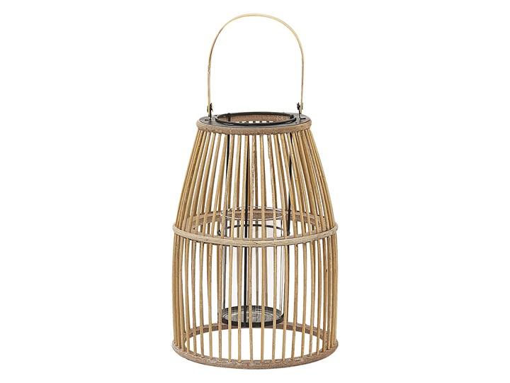 Lampion beżowy bambusowy 32 cm ze świecznikiem wewnątrz i na zewnątrz styl boho Drewno Szkło Kategoria Świeczniki i świece