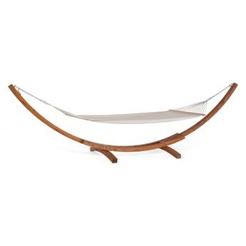 Hamak ogrodowy beżowy ciemna drewanina rama stojak klasyczny design