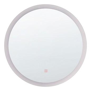Lustro ścienne wiszące srebrne LED okrągłe 58 cm