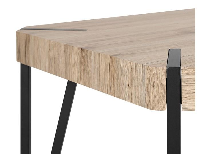 Stół do jadalni jasne drewno czarne metalowe nogi 130 x 90 cm prostokątny styl industrialny Długość 130 cm  Płyta MDF Pomieszczenie Stoły do jadalni