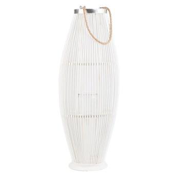 Lampion dekoracyjny białe drewno bambusowe 72 cm ozdoba latarnia na świecę