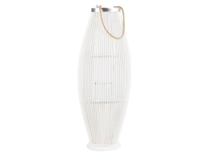 Lampion dekoracyjny białe drewno bambusowe 72 cm ozdoba latarnia na świecę Kolor Biały Szkło Kategoria Świeczniki i świece