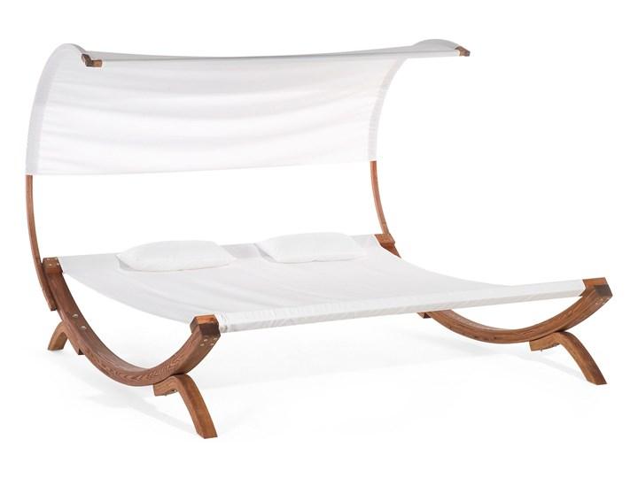Leżak ogrodowy biały drewno modrzewiowe 2-osobowy zadaszony nowoczesny