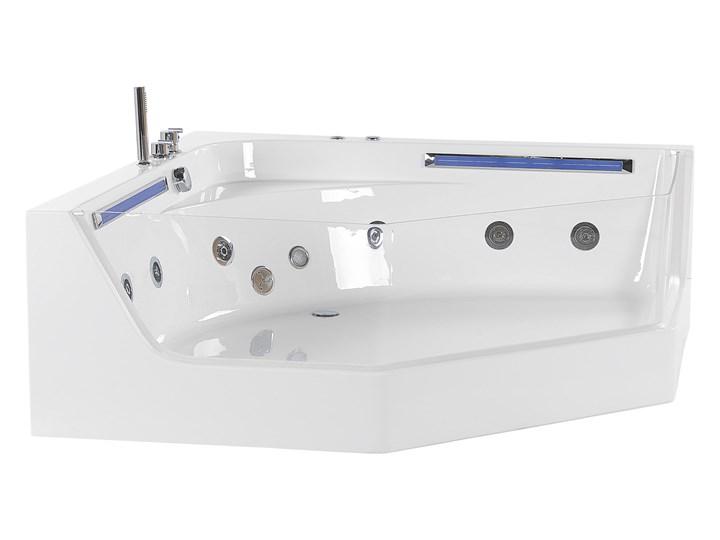 Wanna narożna biała LED hydromasaż system nowoczesna dla 2 osób Akryl Stal Kolor Biały Kategoria Wanny