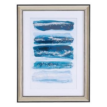 Obraz w ramce niebieski z miedzianą ramą 30 x 40 cm passe-partout efekt akwareli glamour