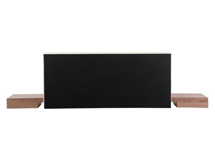 Łóżko ciemne drewno 160 x 200 cm 2 stoliki nocne wysoki zagłówek styl japoński Łóżko drewniane Łóżko skórzane Kategoria Łóżka do sypialni