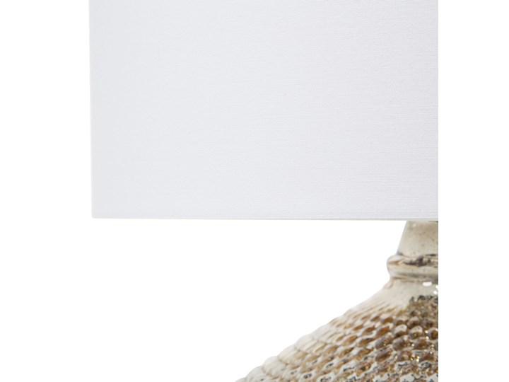 Lampa stołowa złota biała 55 cm szklana podstawa wysoki połysk glamour Lampa nocna Kolor Biały Lampa z abażurem Styl Nowoczesny