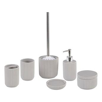Zestaw akcesoriów łazienkowych szary ceramiczny vintage retro dozownik mydła szczotka do toalety