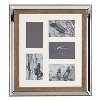 Multiramka ciemne drewno drewniana lustrzana 49 x 44 cm na zdjęcia 5 fotografii 10 x 15 cm kolaż wisząca