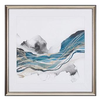 Obraz w ramie niebiesko-szary wydruk na papierze 60 x 60 cm abstrakcja dekoracja ścienna