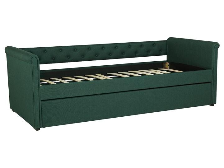 Łóżko dziecięce wysuwane ze stelażem ciemnozielone tapicerowane tkaniną pikowane oparcie 90 x 200 cm Kolor Zielony Drewno Tworzywo sztuczne Rozmiar materaca 90x200 cm