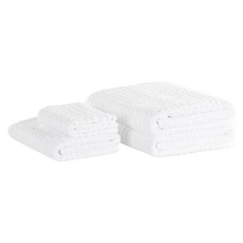 Komplet 4 ręczników biały bawełna zero twist ręczniki dla gości do rąk kąpielowy i mata łazienkowa