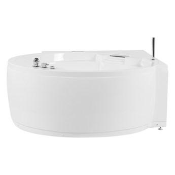 Wanna narożna z hydromasażem biała akrylowa ⌀ 150 cm z LED głośnikiem Bluetooth okrągła glamour