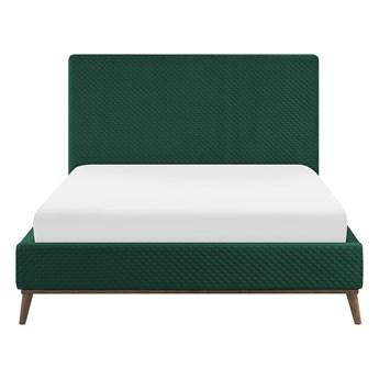 Łóżko ze stelażem zielone welurowe 140 x 200 cm z zagłówkiem styl retro