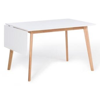 Stół do jadalni biały jasne drewno 120/155 x 80 cm rozkładany skandynawski