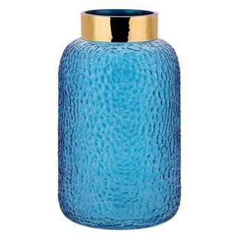 Wazon dekoracyjny niebieski szklany 27 cm na sztuczne kwiaty styl eklektyczny