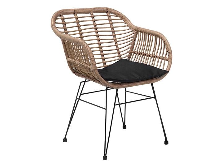 Zestaw balkonowy brązowy rattanowy 2 krzesła 1 stół ze szklanym blatem nowoczesny Technorattan Stoły z krzesłami Zawartość zestawu Stolik Stal Liczba miejsc Dwuosobowy