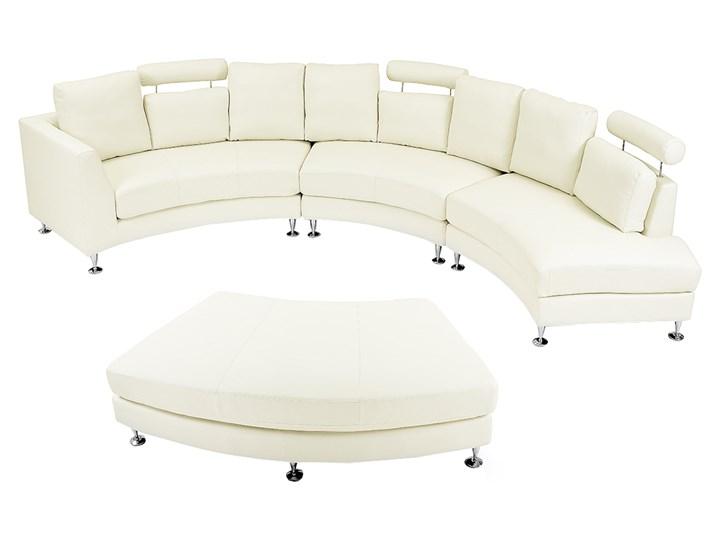 Sofa półokrągła kremowa skórzana 8 miejsc moon salon duży pokój nowoczesna Stała konstrukcja Szerokość 448 cm Boki Z jednym bokiem