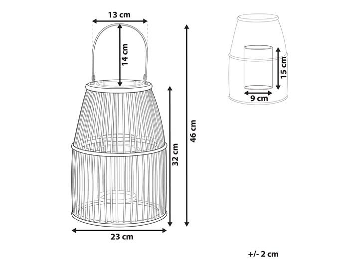 Lampion beżowy bambusowy 32 cm ze świecznikiem wewnątrz i na zewnątrz styl boho Szkło Drewno Kategoria Świeczniki i świece