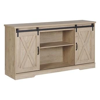 Komoda jasne drewno szafka z półkami dwudrzwiowa styl rustykalny