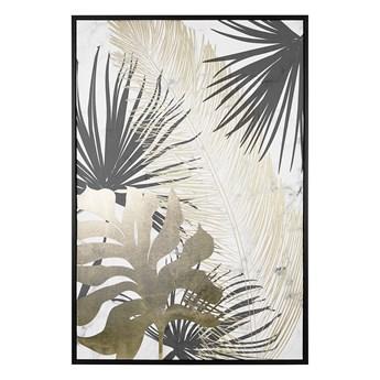 Obraz w ramie złoto-czarny nadruk z roślinami na płótnie liście palmy 63 x 93 cm nowoczesna dekoracja ścienna