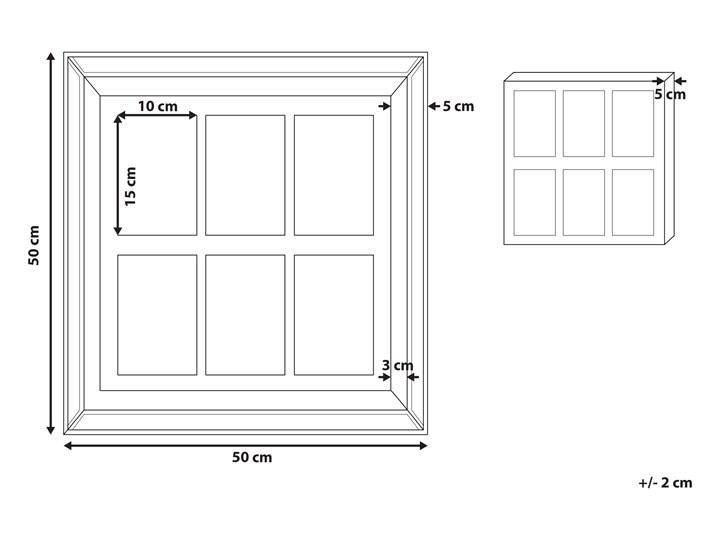 Multiramka ciemne drewno drewniana lustrzana 50 x 50 cm na zdjęcia 6 fotografii 10 x 15 cm kolaż wisząca Kategoria Ramy i ramki na zdjęcia Pomieszczenie Sypialnia