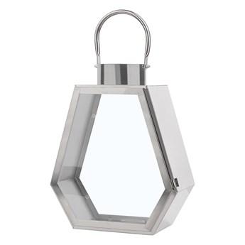 Lampion dekoracyjny srebrny metalowy geometryczny 46 cm ozdobna latarnia na świecę