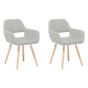 Zestaw 2 krzeseł szarych tapicerowanych drewniane nogi fotele do jadalni salonu styl retro przejściowy