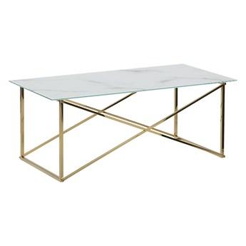 Stolik kawowy prostokątny biały blat efekt marmuru złote nogi szkło hartowane baza stal nierdzewna 100 x 50 cm styl glam minimalistyczny