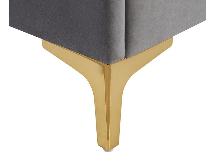 Łóżko welurowe szare 140 x 200 cm tapicerowane złote nóżki wezgłowie oparcie glamour nowoczesne Kategoria Łóżka do sypialni Łóżko tapicerowane Kolor Złoty