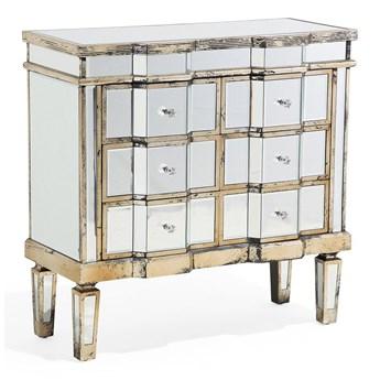 Komoda z szufladami lustrzana szklana 59 x 80 cm złote elementy 6 szuflad styl glam